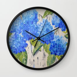 Picket Fence Hydrangeas Wall Clock