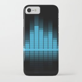 Cool Blue Graphic Equalizer Music on black iPhone Case