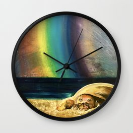 Sleepy Seal on the Beach Wall Clock