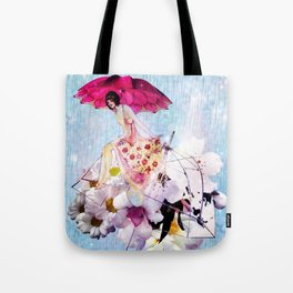 Rainy Bouquet Girl Tote Bag