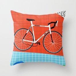 Sporty - bicycle art, schwinn paramount, biking, cycling art print, retro, memphis art print Throw Pillow