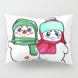 naughty snowman couple winter christmas carrot Pillow Sham