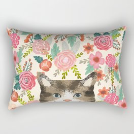 Cat floral pet portrait tabby cats Rectangular Pillow