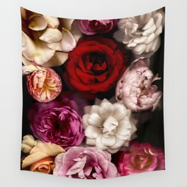 Pink, White, and Red Roses Wall Tapestry