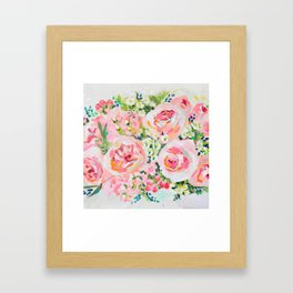 Cottage chic pink peony bouquet Framed Art Print