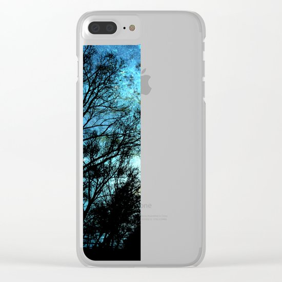 Black Trees Deep Teal SPACE Clear iPhone Case