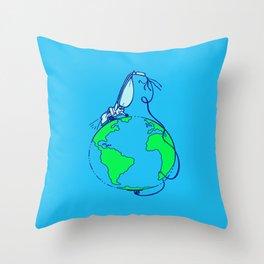 Help (blue) Throw Pillow