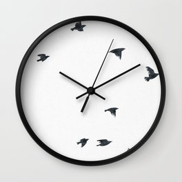 Ravens Birds in Black and White Wall Clock