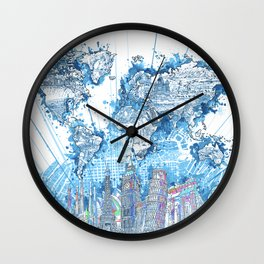 world map city skyline 5 Wall Clock