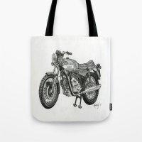 motorbike Tote Bags featuring Stippled Motorbike  by Rachael Kotvojs
