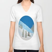snowboarding V-neck T-shirts featuring Snowboarding by N_T_STEELART