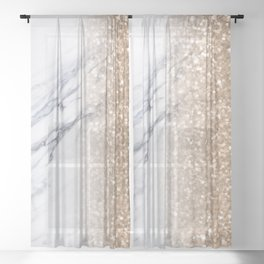 Bronze Copper Gold Glitter White Gray Marble Luxury III Sheer Curtain