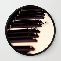 piano Wall Clocks featuring piano by noirblanc777