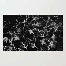 FLOWERS AT MIDNIGHT - IN BLACK & WHITE Rug
