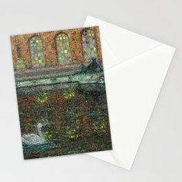 Water Parterre & Swans Palace of Versailles, France by Henri Le Sidaner Stationery Cards