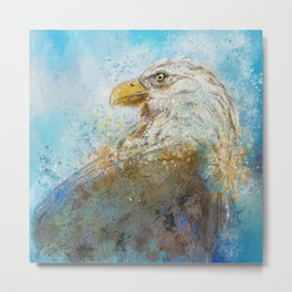 Expressive Bald Eagle Metal Print