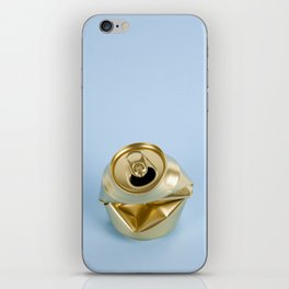 Crushed gold can blue iPhone Skin