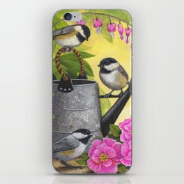 Chickadees and Old Watering Can iPhone Skin