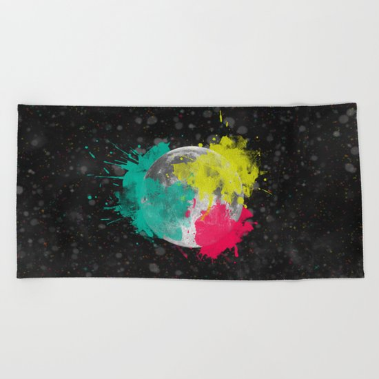 Moon + Neon Beach Towel