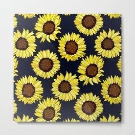 Sunflowers are the New Roses! - Navy Metal Print
