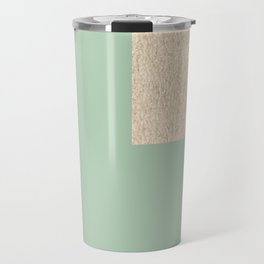Simply Geometric White Gold Sands on Pastel Cactus Green Travel Mug