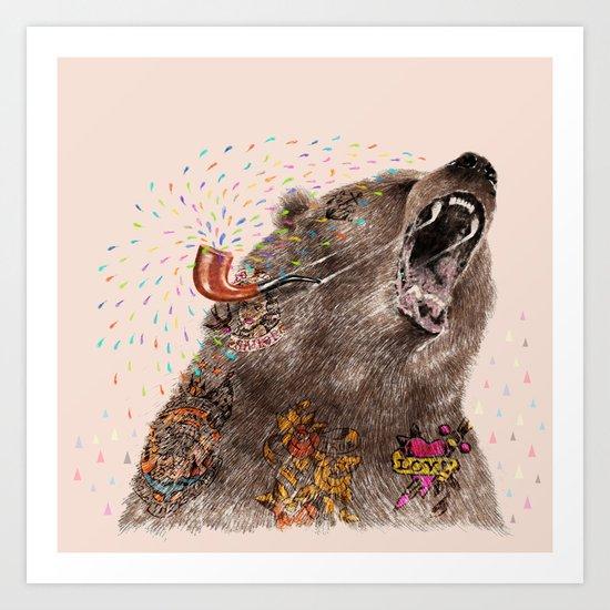 Angry Bear II Art Print