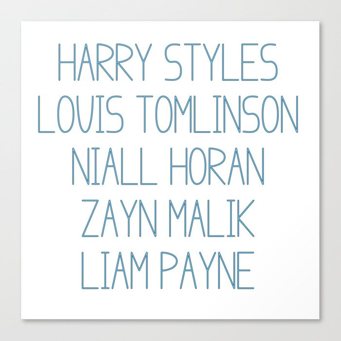 One Direction Members Canvas Print by lisachaney