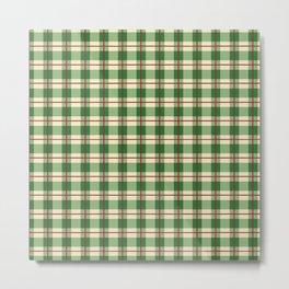 Plaid Pattern in Green and Beige Metal Print