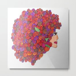 Lady with curly hair Metal Print