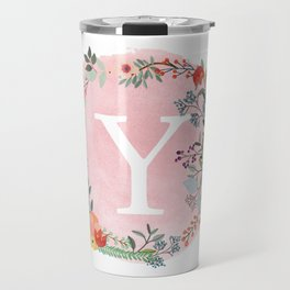 Flower Wreath with Personalized Monogram Initial Letter Y on Pink Watercolor Paper Texture Artwork Travel Mug
