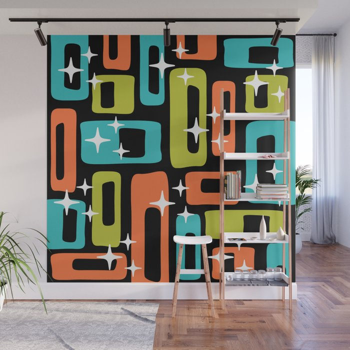 Retro Mid Century Modern Abstract Pattern 222 Orange Chartreuse Turquoise Wall Mural