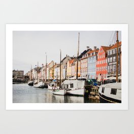The Row | City Photography of Boats and Colorful Houses in Nyhavn Copenhagen Denmark Europe Art Print