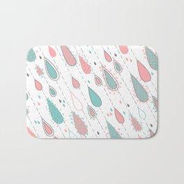 Rain Drops Teal and Pink Bath Mat