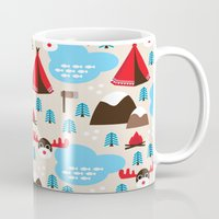 scandinavian Mugs featuring Scandinavian retro moose pattern by Little Smilemakers Studio