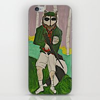 racoon iPhone & iPod Skins featuring racoon hunter by Laura Eckes