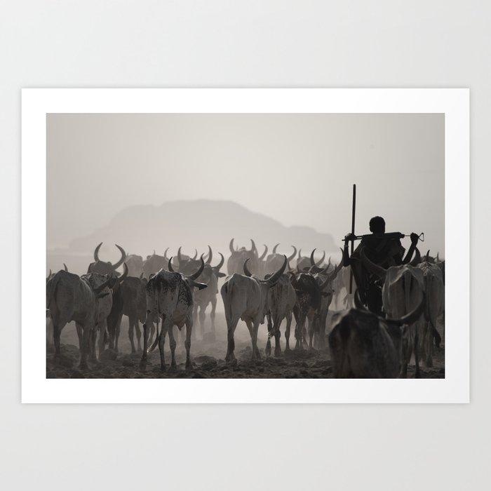 Afar Cattle Herder Art Print