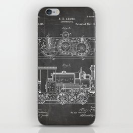 Steam Train Patent - Steam Locomotive Art - Black Chalkboard iPhone Skin