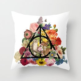 Floral Deathly Hallows Owl and Stag - Black Throw Pillow