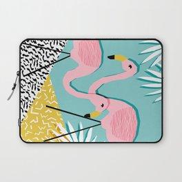 Bro - wacka design memphis throwback minimal retro hipster 1980s 80s neon pop art flamingo lawn Laptop Sleeve