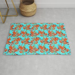 Tigers and Tiger Lilies (Blue Background) Rug