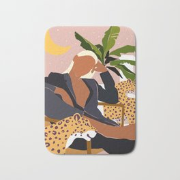 Girl Boss, Woman Empower Feminism Cheetah Illustration, Wild Cat Tiger Boho Leopard Tropical Moon Bath Mat