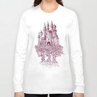 trees Long Sleeve T-shirts featuring Castle in the Trees by Rachel Caldwell