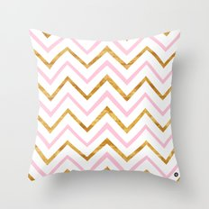 Gold and pink geometric pattern Throw Pillow