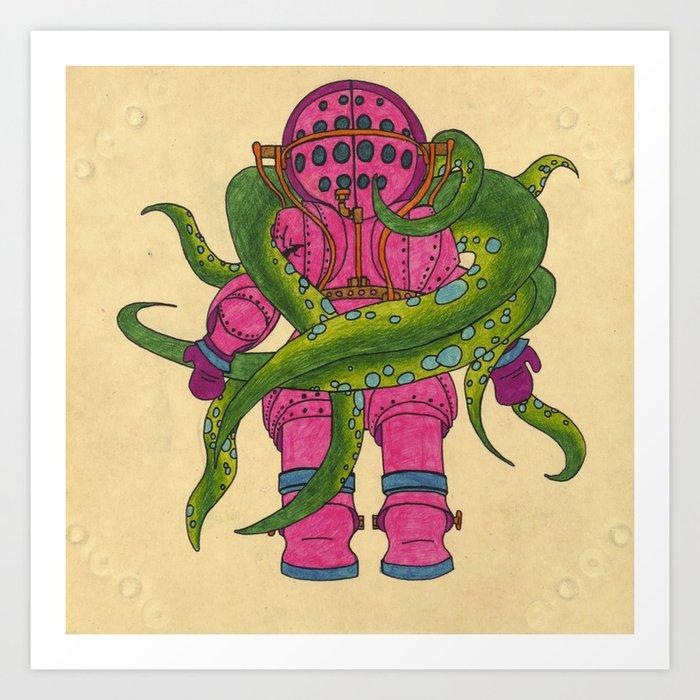Pink Scuba Diver Art Print By Topherjknoll