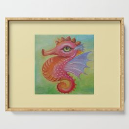 Baby Dragon Sea Horse Ice Cream color book illustration for kids Oil painting on canvas Pastel color Serving Tray