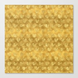 Gold Glam Hearts Canvas Print