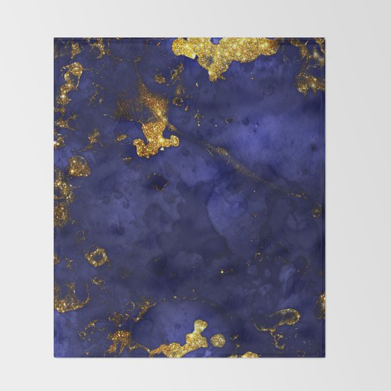 Gold Blue Indigo Malachite Marble by originalaufnahme
