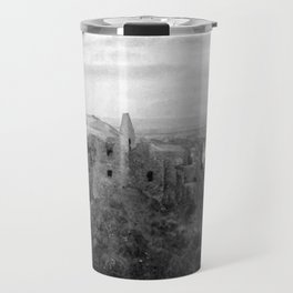 Castle Ruins | Irish Landscape | Black and White  | Halloween | Nadia Bonello Travel Mug