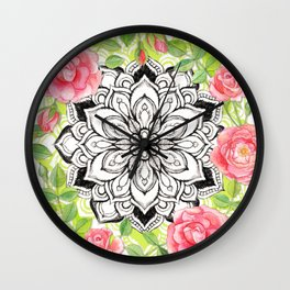 Peach Pink Roses and Mandalas on Lime Green and White Wall Clock