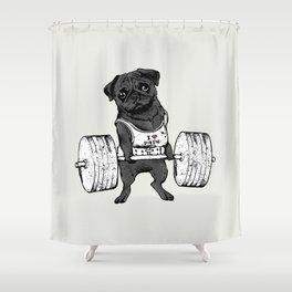 Black Pug Lift Shower Curtain